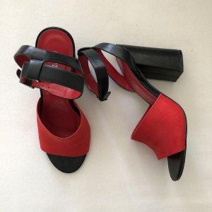 Bestelle Sandalo con plateau nero-rosso