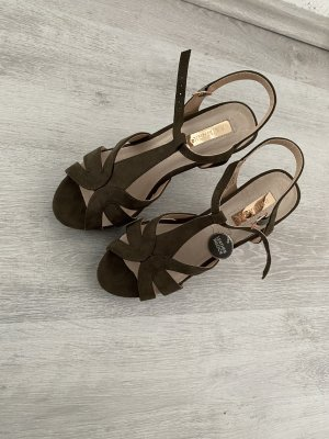 Absatz Sandalen in Khaki