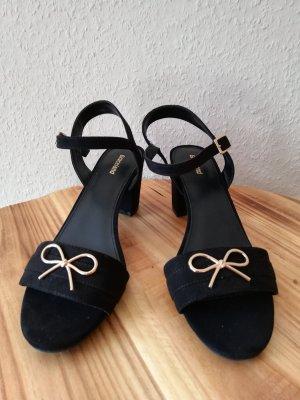 Absatz Sandalen Sandaletten schwarz gold Schleife Gr. 40 neu Lolita Rockabilly Riemchen