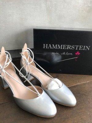 Hammerstein Ballerina di pelle verniciata argento-grigio chiaro