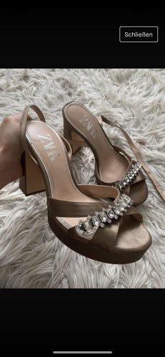 Zara Platform High-Heeled Sandal green grey