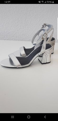 Bershka Wedge Sandals silver-colored-light grey