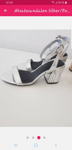 Bershka Strapped High-Heeled Sandals silver-colored