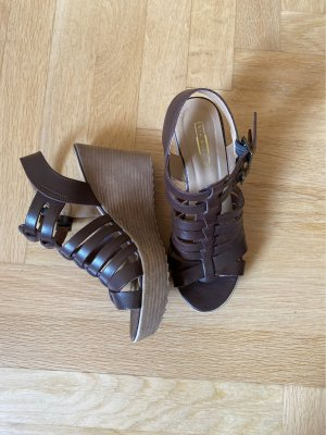 5th Avenue Platform Sandals brown-dark brown leather