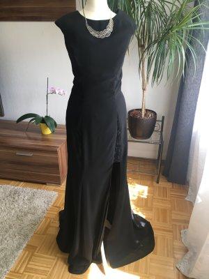 Abschlussball Abendkleid Beinschlitz Korsage Schleppe XS 34 Black schwarz Prinzessin