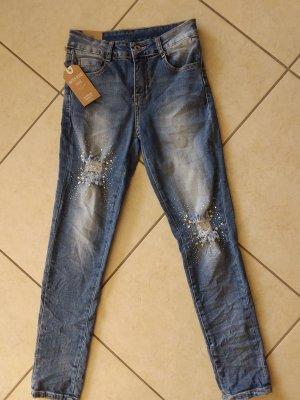 Absolut cool Jeans Hose mit Strasssteine