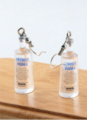 Absolut Vodka Hänger Ohrhänger Ohrschmuck Flaschen Ohrringe Wodka-Flasche, Crazy