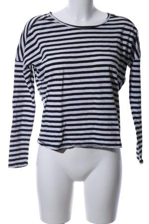Gestreept shirt zwart-lichtgrijs gestreept patroon casual uitstraling