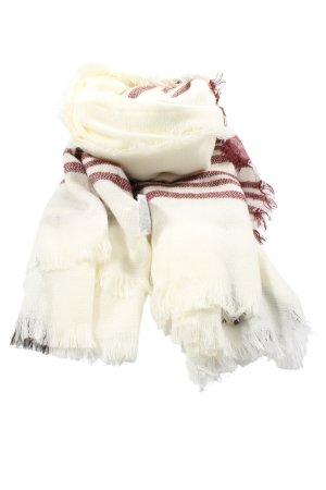 Accessoires Szalik z frędzlami biały-czerwony Wzór w paski W stylu casual