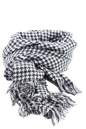 Accessoires Sciarpa con frange nero-bianco stampa integrale stile casual