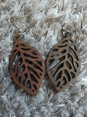 Accessoires Holz-Ohrringe in Blätter-Optik [Braun, ca. 70 mm]