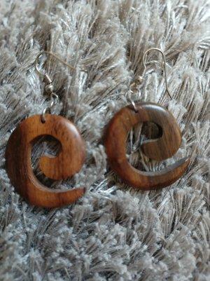 Accessoires Holz-Ohrringe in Spiral-Optik [Braun, ca. 55 mm]