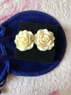 Accessoires Stecker Ohrringe [Weiße Rosen, ca. 20 mm]