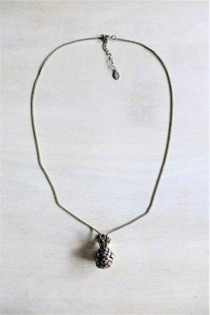 Accessorize Collar gris claro-color oro