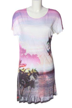 Accessorize Camisa larga blanco-lila estampado temático look casual