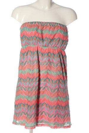 Accessorize schulterfreies Kleid pink-türkis Allover-Druck Casual-Look
