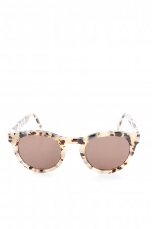 Ace & Tate Round Sunglasses cream-brown abstract pattern casual look