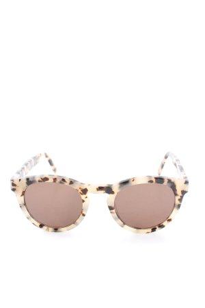 Ace & Tate Gafas de sol redondas crema-marrón estampado con diseño abstracto