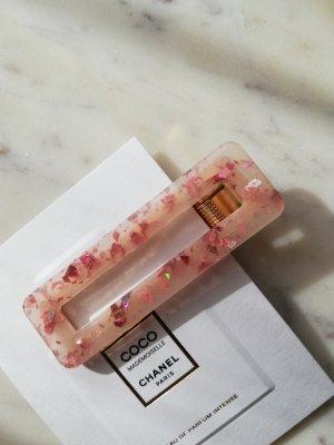 Acetat Haarclip Haarspange eckig rose pink Flakes Glitter