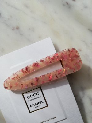 Acetat Haarclip Haarspange rose pink Flakes Glitter