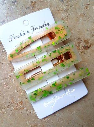 Acetat Haarspangen Haarclips mit Glitzer grün