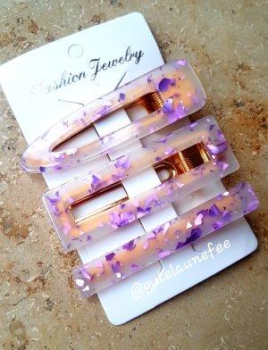 Acetat Haarspangen Haarclips mit Glitzer lila violett