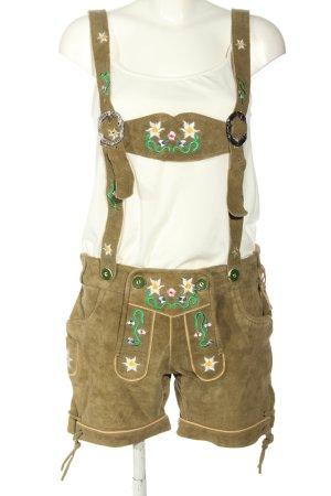 Achim Klein Trachtenmode Traditionele leren broek khaki casual uitstraling