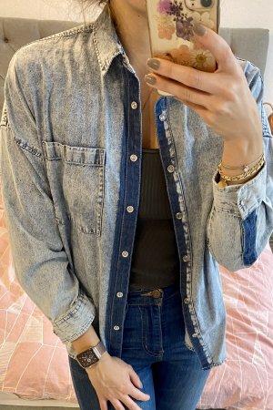 Bluzka jeansowa błękitny-ciemnoniebieski