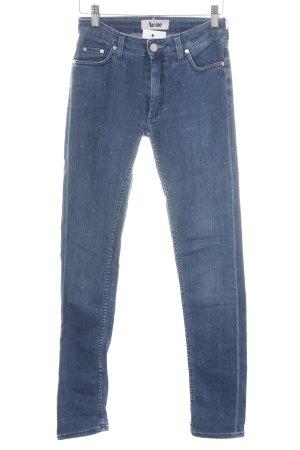 Acne High Waist Jeans blau Punktemuster Street-Fashion-Look