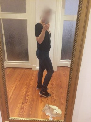 Acne Skinny Jeans dark blue cotton