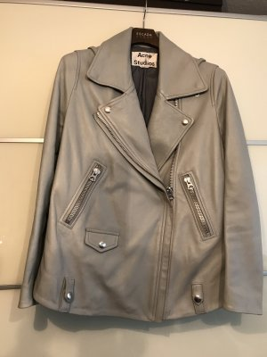 Acne Leather Jacket light grey-pale blue