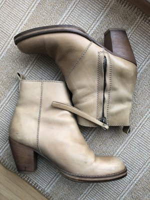 Acne Zipper Booties cream-nude leather