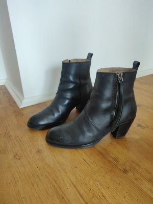 Acne Zipper Booties black leather