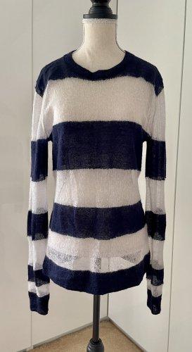 Acne Studios Cienki sweter z dzianiny biały-ciemnoniebieski
