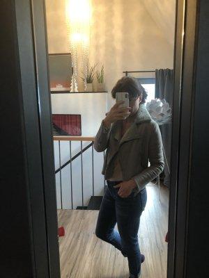 Acne Veste en cuir gris clair