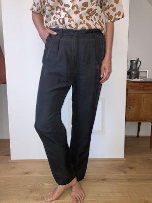 Acne Studios Spodnie z zakładkami antracyt Jedwab