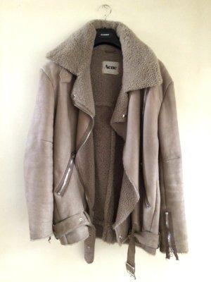 Acne Studios Skórzana kurtka szaro-brązowy Skóra