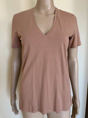 Acne Blusa de manga corta marrón claro-color rosa dorado