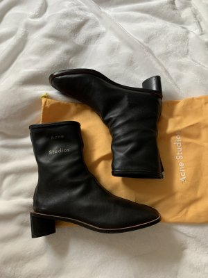 Acne Studios Booties black-silver-colored leather
