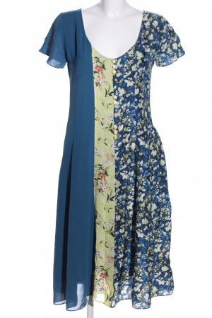 Acne Studios Midikleid blau-blassgelb Blumenmuster Business-Look