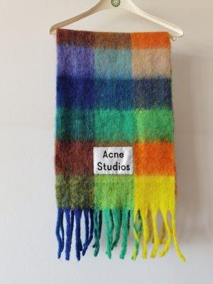 Acne Studios Écharpe en laine rouge framboise-vert