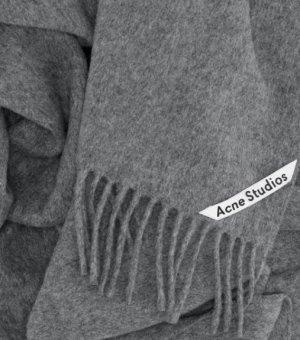 ACNE STUDIOS Schal Canada New aus Schurwolle Wollschal in Grau Fransenschal