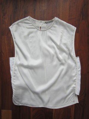 Acne Top in seta bianco sporco Seta