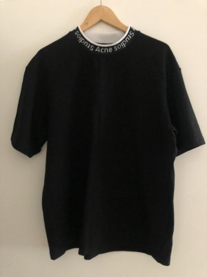 Acne Studios Koszulka oversize czarny-biały Wiskoza