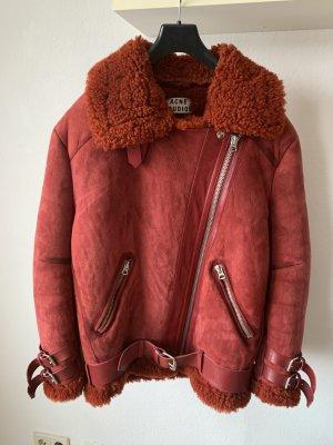 Acne Studios Skórzana kurtka czerwony Skóra