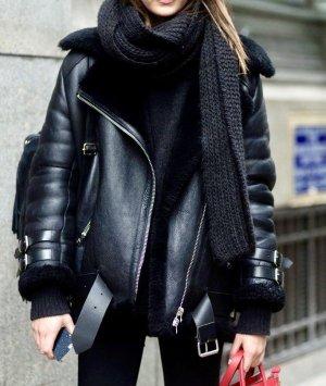 Acne Studios Skórzana kurtka czarny-srebrny Skóra
