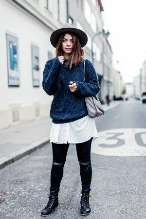 Acne Studios Wool Sweater slate-gray-dark blue casual look