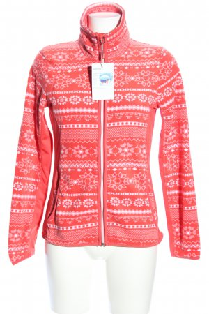 active Fleecejacke rot-weiß abstraktes Muster Casual-Look