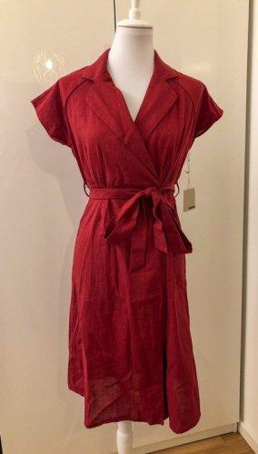 Active USA Robe portefeuille rouge foncé-rouge lin