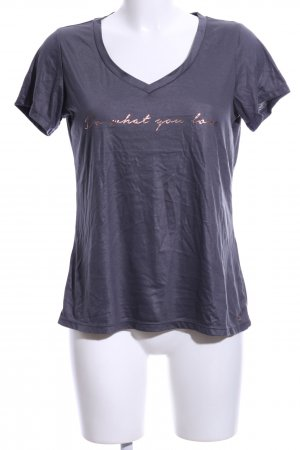 active T-shirt lila gedrukte letters casual uitstraling